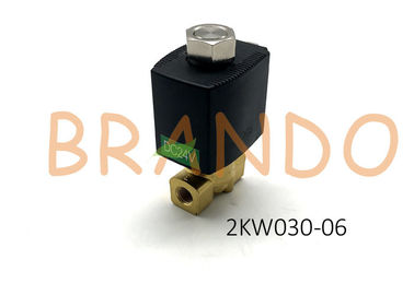 "DC24V 2 / 2 Way Direct Acting Normally Opened Fluid Control Valve 2KW030 - 06 With Port Size 1 / 8 "" For Steam Oil Water"