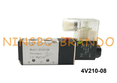 "1/4"" NPT 4V210-08 AirTAC Type Air Solenoid Valve 5 Way 2 Position Single Solenoid 220VAC 24VDC"