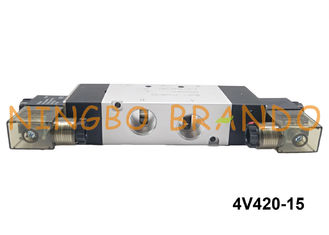 "NPT 1/2"" AirTac Type 4V420-15 Pneumatic Solenoid Valve 5 Way 2 Position Double Head DC12V DC24V"
