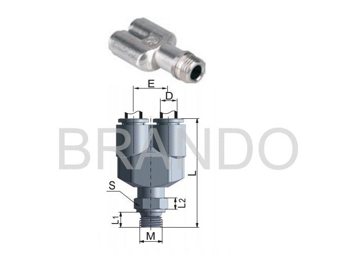 Metal Joint Quick Connect Pneumatic Fittings , Pneumatic Tube Fittings U Shaped