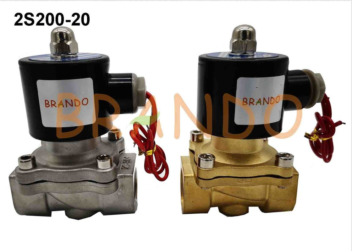 DN20 Stainless Steel 304 Pneumatic Solenoid Water Valve 2S200-20 With Flying Leads Coils