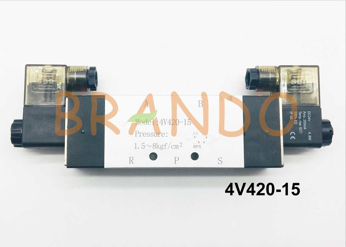 1/2'' Double Coils 5/2 Way Pneumatic Cylinder Valve 4V420-15 0.15-0.8MPa