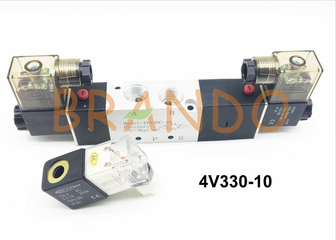 Inner Pilot Type 5/3 Way Pneumatic Solenoid Valve 4V300 Series 4V330-10