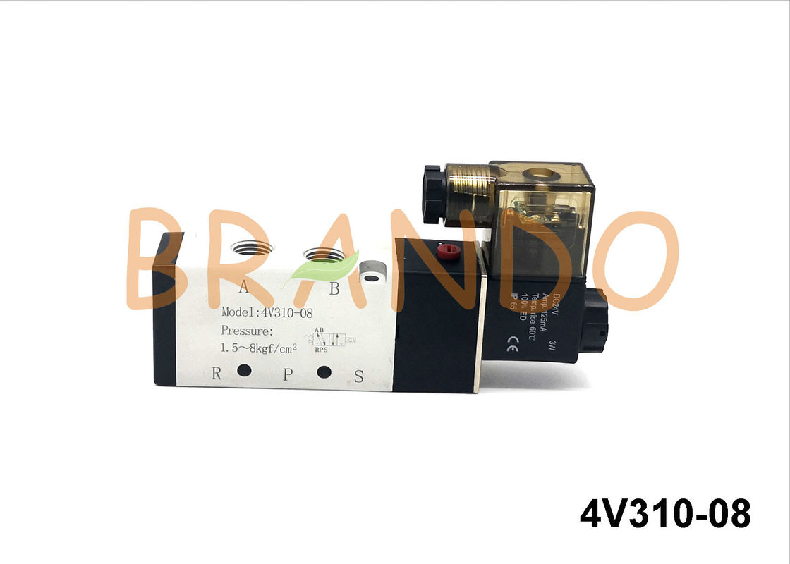 Airtac Type 5/2-Way 1/4'' 4V310-08 Pneumatic Single Solenoid Operated Valve DC24V/AC220V