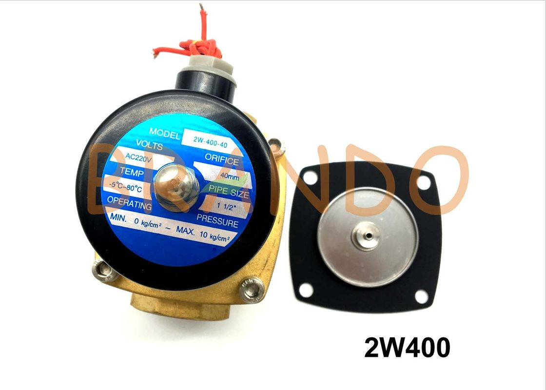 Solenoid Water Valve Diaphragm 2W400 0.2 - 0.6Mpa Working Pressure NBR Material