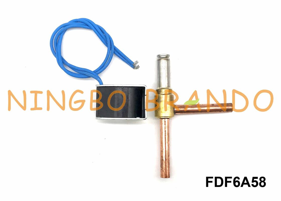 "FDF6A58 Copper NC Solenoid Valve For Air Conditioner AC220V 5/16"" Right Angle 2 Way"