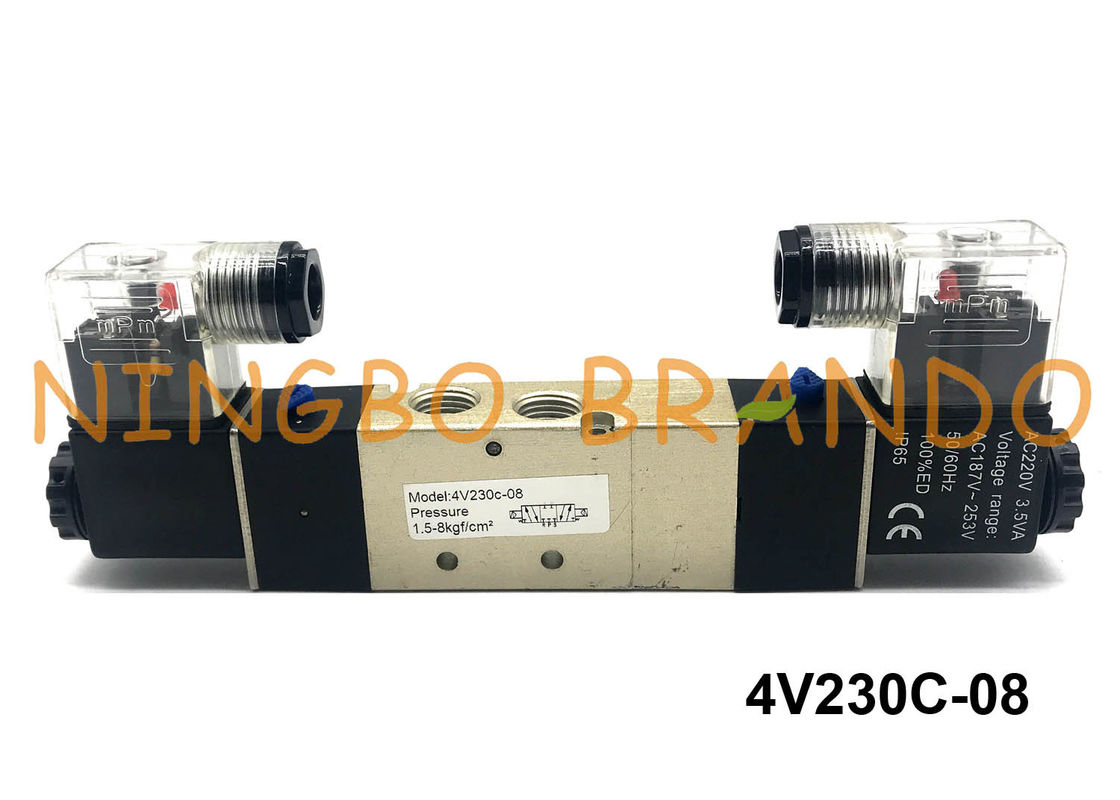 "4V230C-08 PT 1/4"" AirTAC Type Air Solenoid Valve Double Electrical Control 5/3 Way 12VDC"