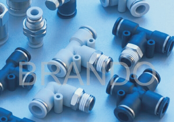 Straight Pneumatic Hose Fittings , Brass Pneumatic Fittings Push In Type 1