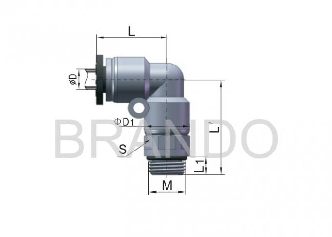 "Elbow Automation Machine Hydraulic Pipe Fittings G 1 / 8 "" Male PL Series"